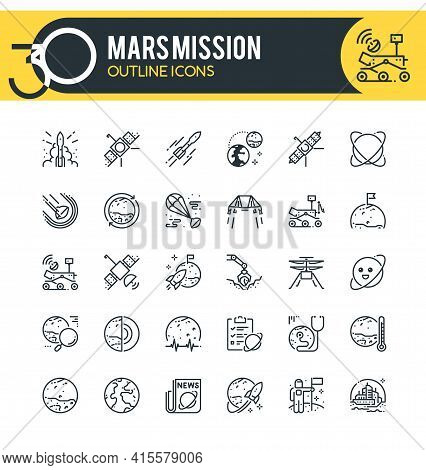 Set Of Outline Icons On Following Topics Mars Mission, Perseverance Mission, Exploration Of Mars, Co