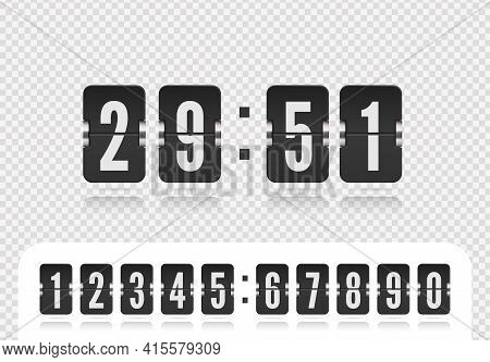 Scoreboard Number Font. Flip Countdown Number On White. Vintage Floating Clock Time Counter Vector I