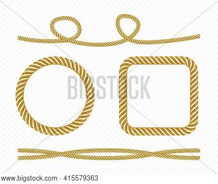 Gold Silk Cords, Round And Square Frames Of Satin Rope, Golden Threads, Decorative Sewing Items Isol