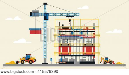 Construction Site Illustration. Building Under Construction. Heavy Machinery Work On Site, Excavator