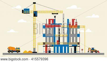 Construction Site Illustration. Building Under Construction. Heavy Machinery Work On Site, Concrete