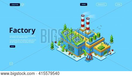 Factory Banner. Modern Industry Building, Power Station Or Manufactory. Vector Landing Page With Iso