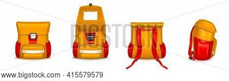Kids School Bag, Backpack Or Rucksack With Webbing, Orange And Red Colors Knapsack Different Angle V