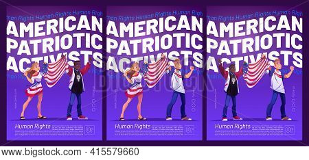 American Patriotic Activists Poster With People Holding Usa Flag. Vector Flyers With Cartoon Illustr