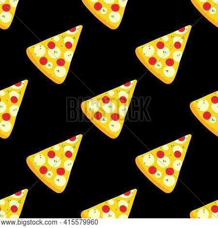 Pizza Slices With Pepperoni And Mozzarella Vector Cartoon Style Seamless Pattern Background For Fast