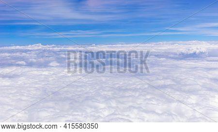 Blue Sky Background. Vast Blue Sky Landscape. Sky Panoramic Scene. Colorful Blue Sky. Sky View In Br