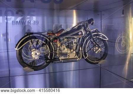 Germany, Munich - April 27, 2011: Bmw R39 Motorcycle In The Exhibition Hall Of The Bmw Museum. It Wa