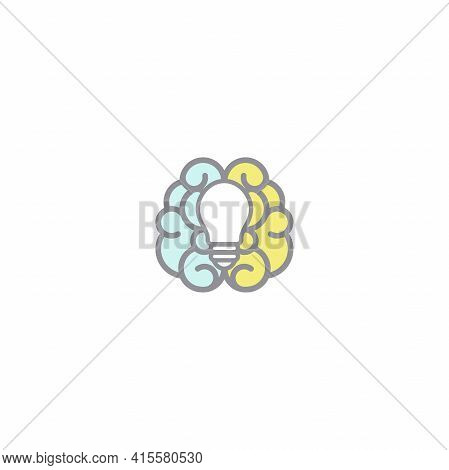 Colorful Brain With Bulb Flat Icon. Isolated On White. New Business Idea. Smart, Clever, Creative Sy