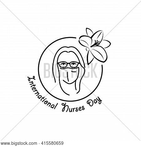 International Nurses Day Linear Medical Icon. Vector Abstract Illustration Of A Nurse Wearing Medica