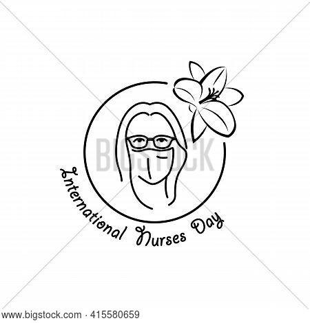 International Nurses Day Linear Medical Icon. Vector Abstract Illustration Of A Nurse Wearing Medica