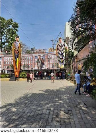 Closeup Of Sandalwood Famous Actor Power Star Punith Rajkumar, Yuvarathnaa Movie Cutout At The Entra