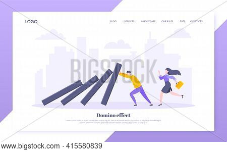 Domino Effect Or Business Resilience Metaphor Vector Illustration Concept. Adult Young Businessman P