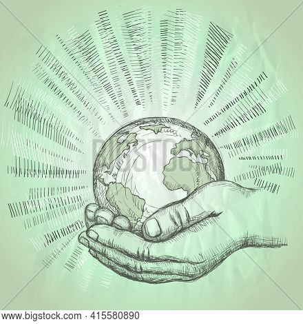 Human hands holding glowing earth with rays, save the planet, organic farming concept, hand drawn graphic illustration, rasterized version