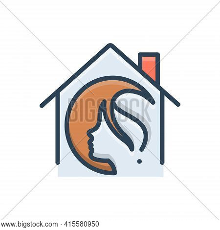 Color Illustration Icon For Salon-at-home Salon Home Haircare Profession Maintenance Service