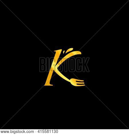 Letter K With Fork Food Catering Gourmet Classic Premium Restaurant Logo Icon