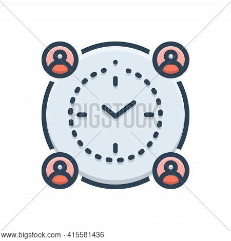 Color Illustration Icon For Meaning-deadline Meaning Deadline Management Schedule
