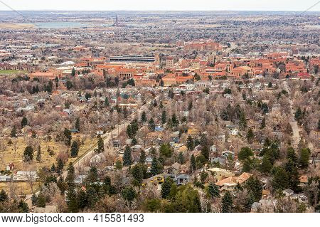 Aerial View Of Boulder, Colorado, From Panorama Point In Boulder Mountain Park