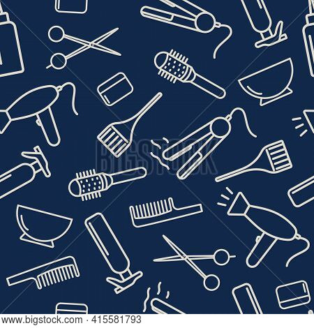 Professional Hairdressing Tools Of The Barber Shop Salon. Seamless Vector Pattern. Icons Haircut, Pe