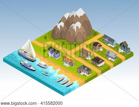 Sea Line Scape Composition With Cottage Estate Isometric Houses Mountains And Coastline With Yachts