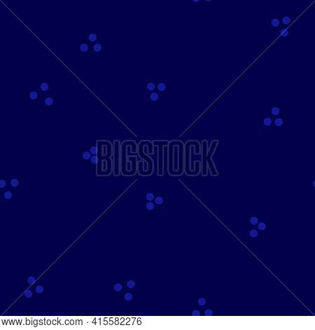 Blue Hues Abstract Seamless Background With Random Dots. Geometric Ditsy Pattern Three Dots Placed I