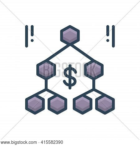 Color Illustration Icon For Hierarchy Sequence Organisation  Hierarchy-chart