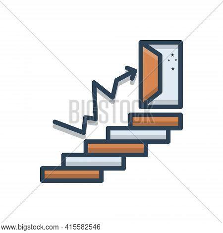 Color Illustration Icon For Success  Accomplishment Prosperity Achievement