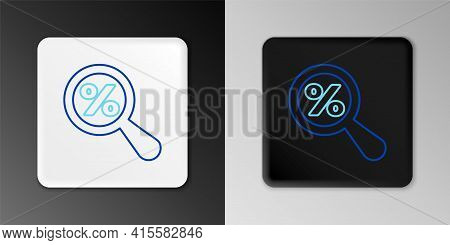 Line Magnifying Glass With Percent Discount Icon Isolated On Grey Background. Discount Offers Search