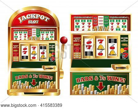 Poker Slot Jackpot Machine Isolated Front Images Set With Realistic One Arm Bandit Game Playing Mach