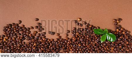 Roasted Brown Coffee Beans. Top View. Brown Coffe Background. Banner.