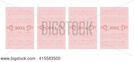 2022 2023 2024 2025 Calendar In Delicate Natural Trendy Style Decorated With Botanical Floral Hand D