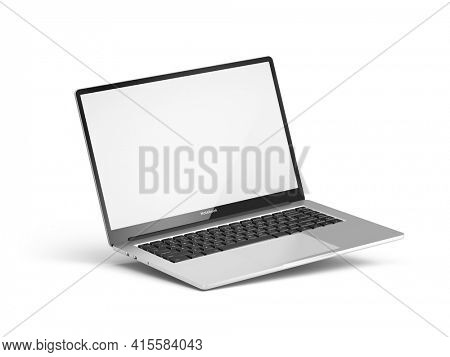 Laptop with blank white screen isolated on a white background. Laptop blank screen mockup. 3d rendering