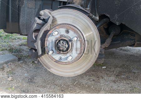 Disc Brake Of The Vehicle. Car Brake Repairing.