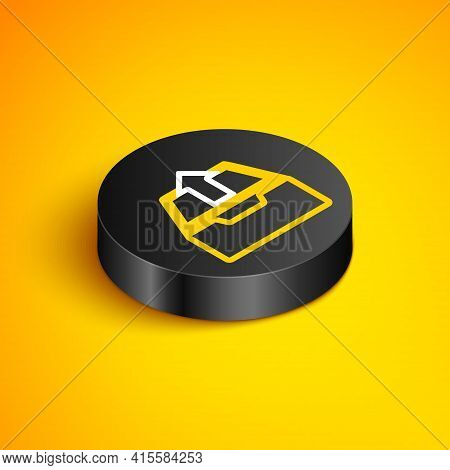 Isometric Line Upload Inbox Icon Isolated On Yellow Background. Extract Files From Archive. Black Ci