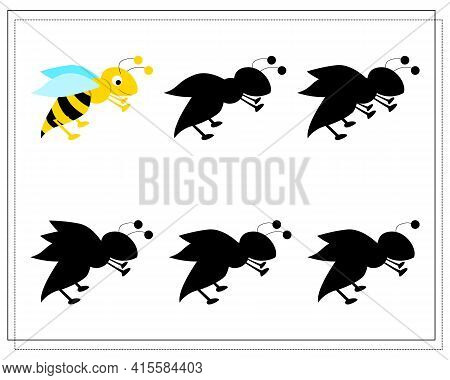 A Puzzle Game For Preschool Children. Find The Right Shadow. Cartoon Bee, Wasp. Silhouette. Vector