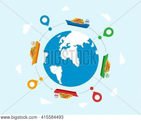 Concept Of International Maritime Transport. Maritime Delivery Goods To Different Countries.