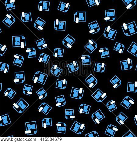 Line Doc File Document. Download Doc Button Icon Isolated Seamless Pattern On Black Background. Doc