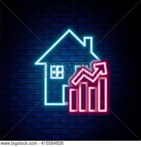Glowing Neon Line Rising Cost Of Housing Icon Isolated On Brick Wall Background. Rising Price Of Rea