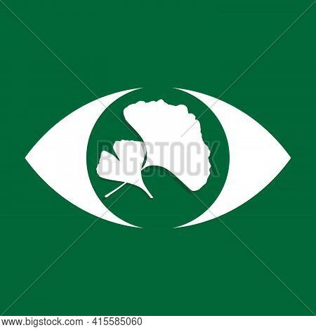 Eye And Ginkgo Leaves Icons Vector Illustration, Ginkgo Biloba Leaves