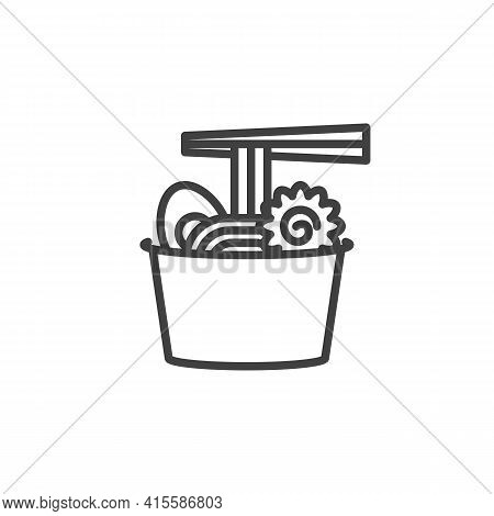 Ramen Noodles Line Icon. Linear Style Sign For Mobile Concept And Web Design. Take Away Ramen Bowl O