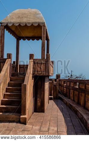 Raised Roofed Observation Platform On Deck Of Replica Panokseon, A Korean Oar And Sail Propelled Shi
