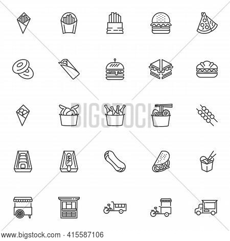 Street Food Line Icons Set. Linear Style Symbols Collection, Outline Signs Pack. Fast Food Vector Gr