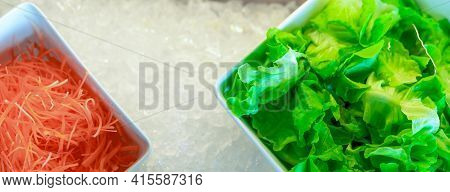 Salad Bar Buffet At Restaurant. Salad Bar Buffet For Lunch Or Dinner. Healthy Food. Top View Fresh G
