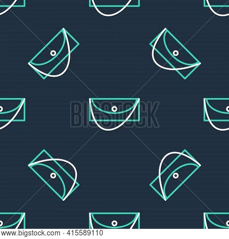 Line Clutch Bag Icon Isolated Seamless Pattern On Black Background. Women Clutch Purse. Vector