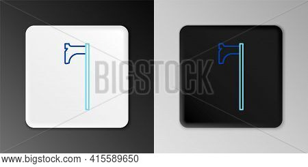 Line Medieval Axe Icon Isolated On Grey Background. Battle Axe, Executioner Axe. Medieval Weapon. Co