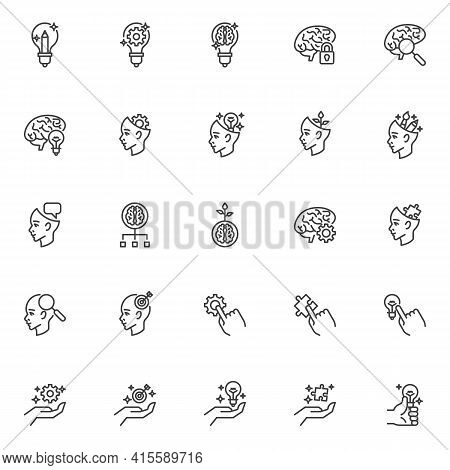 Idea Creativity Line Icons Set. Creative Thinking Linear Style Symbols Collection, Outline Signs Pac