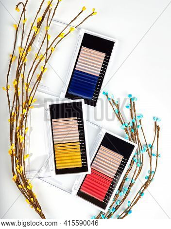 Multiple Color Lashes For Extension In A Pallet, A Set Of Lashes