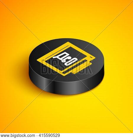 Isometric Line Shopping Cart On Screen Computer Icon Isolated On Yellow Background. Concept E-commer