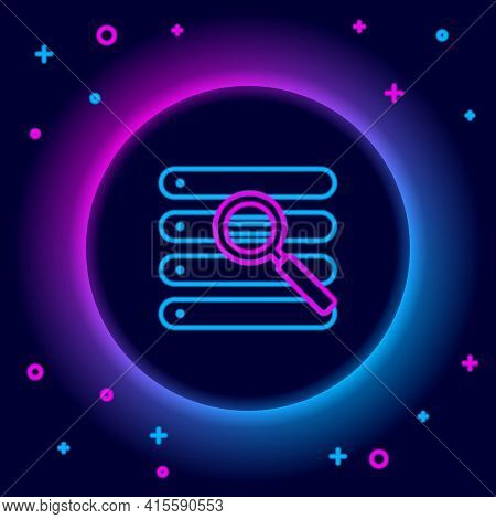 Glowing Neon Line Search In A Browser Window Icon Isolated On Black Background. Colorful Outline Con