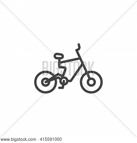 Electric Bicycle Line Icon. Linear Style Sign For Mobile Concept And Web Design. Electric Bike Side