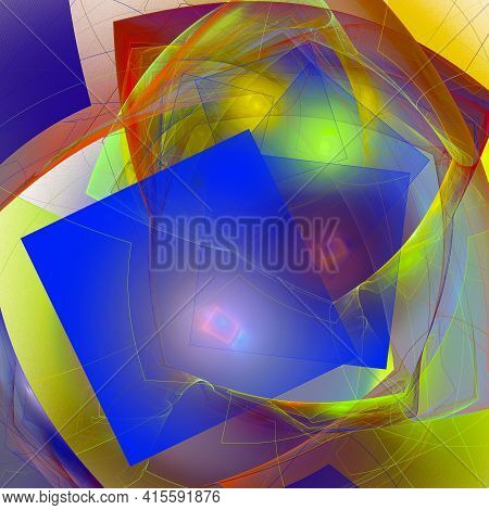Colorful Abstract Fractal Background With Alternating Geometric Shapes, Backlit. 3d Rendering. 3d Il
